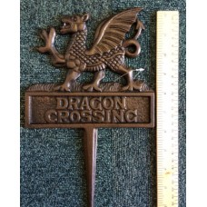 DRAGON CROSSING Cast Iron Garden Sign