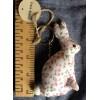 Hare White Calico Keyring