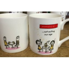 Happiness Is Not Acting Our Age bone china mug
