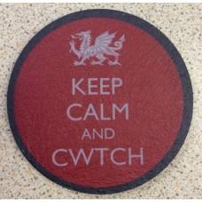 Slate Welsh Coaster - Keep Calm and Cwtch