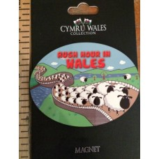 Welsh Rush Hour in Wales Sheep Fridge Magnet