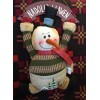 Nadolig Llawen Burlap 35cm Snowman Hanging Decoration